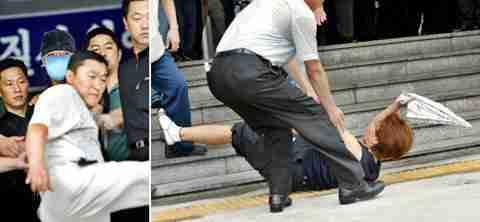 Police kicking woman